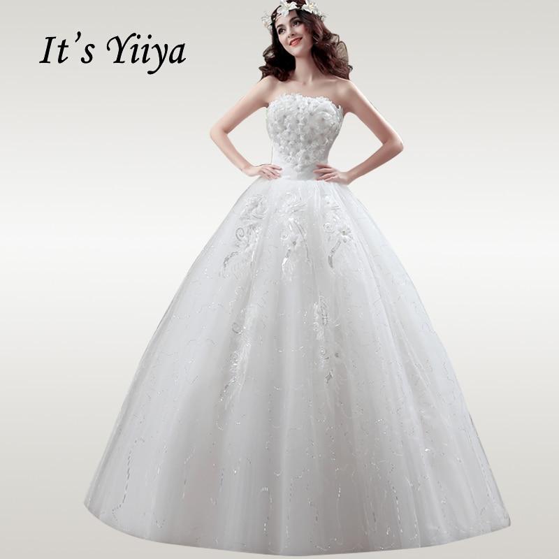 It's YiiYa Wedding Dress 2019 Flowers Strapless Elegant White Wedding Gowns Free Shipping Plus Size Vestido De Novia XXN118