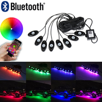 8 Pods RGB Led Rock Light Kit Multicolor Neon Light Bluetooth Remote Controller Timing Music Flashing Mode Car Styling