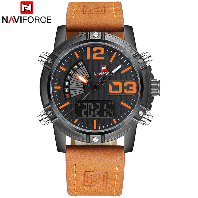 Image 5 - NAVIFORCE Brand Dual Display Watch Men Sport Quartz LED Watches Leather Band Analog Digital Wrist Watches 30M Waterproof Clock-in Quartz Watches from Watches