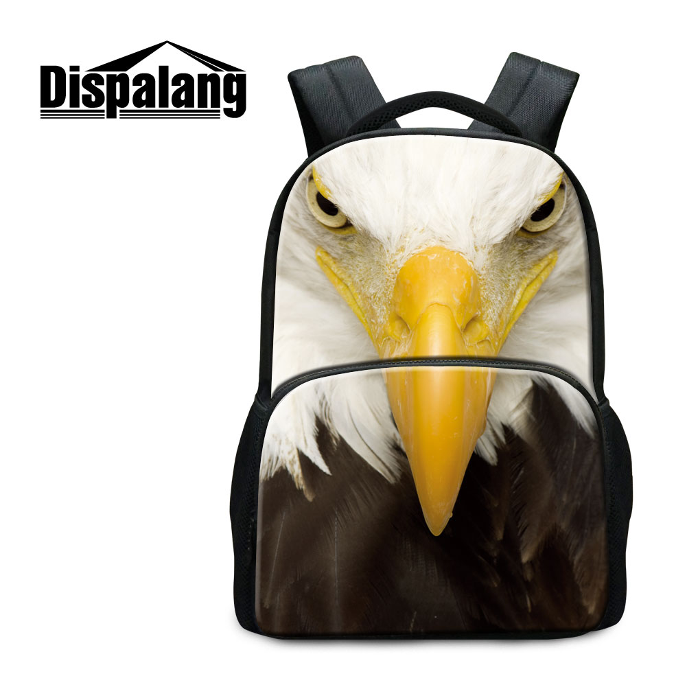 Dispalang Eagle Owl School Backpack For Middle Students 17 inch Canvas Bookbags For Teenage Girls Animals Prints Rucksack Rugzak dispalang custom design gorilla owl school backpacks for college students 17 inch felt backpack large capacity men school bags