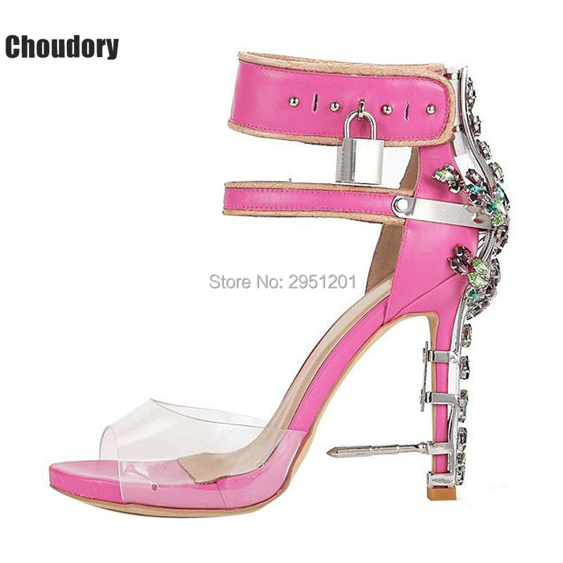 2017 Hot Sale Luxury Brand Rhinstone Lock Shoes Woman High Heels Sandals Sexy PVC Patchwork Summer Gladiator Sandals Women Shoes lanyuxuan 2017 new hot sale sandals