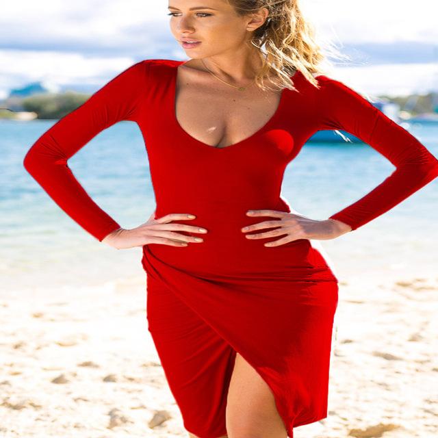 Hot Bodycon Beach dress Women Sexy Casual Solid Winter O neck Robe Vestidos Boho Plus Size Ladies Party  Dresses