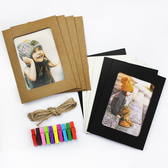 10 Paper Photo Frames with Clips