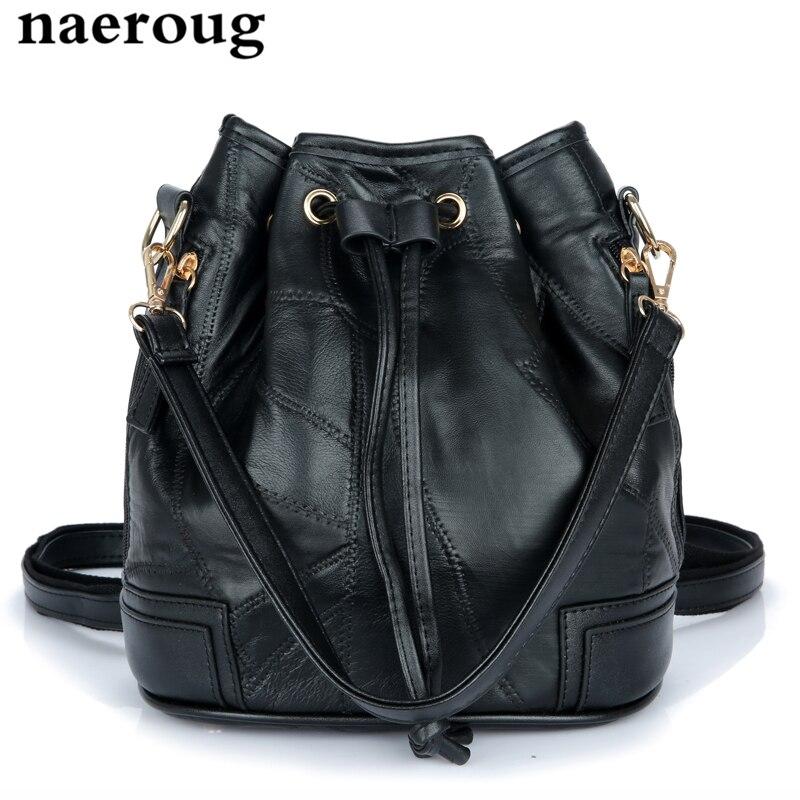 ФОТО Women's Luxury Real Leather Handbags 2017 Black Bucket Bags Ladies Design Genuine Leather Drawstring Bag Famous Brand Sac A Main