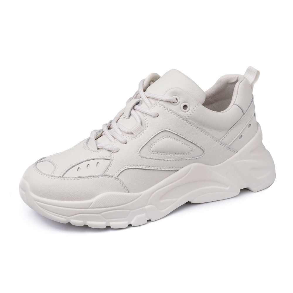 2020 yüksek moda beyaz spor ayakkabı hakiki deri lace up rahat ayakkabılar med alt platform muhtasar nefes vulkanize ayakkabı L23