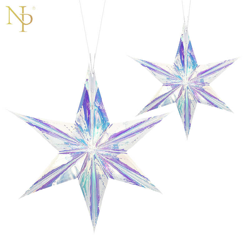 "Nicro 16"" 24"" Rainbow Film Six Pointed Star DIY Party Garland  Decor Supplies Room Shopwindow Grand Event Decoration #Star01"