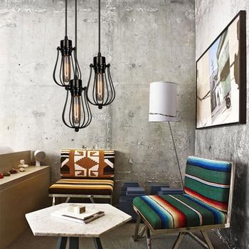 Vintage cage chandelier  Edison light bulb loft  Restaurant Bedroom Pendant LED lighting industry Vintage iron Lamps for home 2