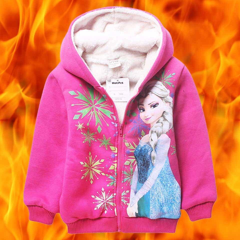 2016 Yeni Çocuk Ceket Bebek anna elsa elza mont Graffiti Kapşonlu Kızlar Toddler Giyim Çocuk giysileri kız kostüm giyim