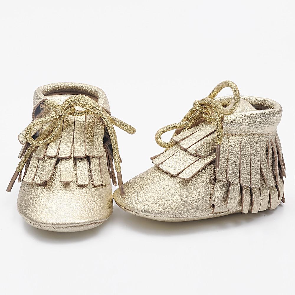 Ny dobbelt frynse snørebånd 100% ægte ko læder småbørn baby støvler moccasiner baby bløde sko første vandrere spædbørn piger dreng