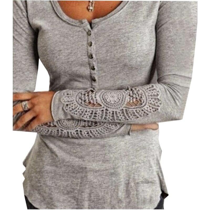 Mulheres Blusas bordados Crochet Lace Blusas de manga Tops sólidos O de S-XXL