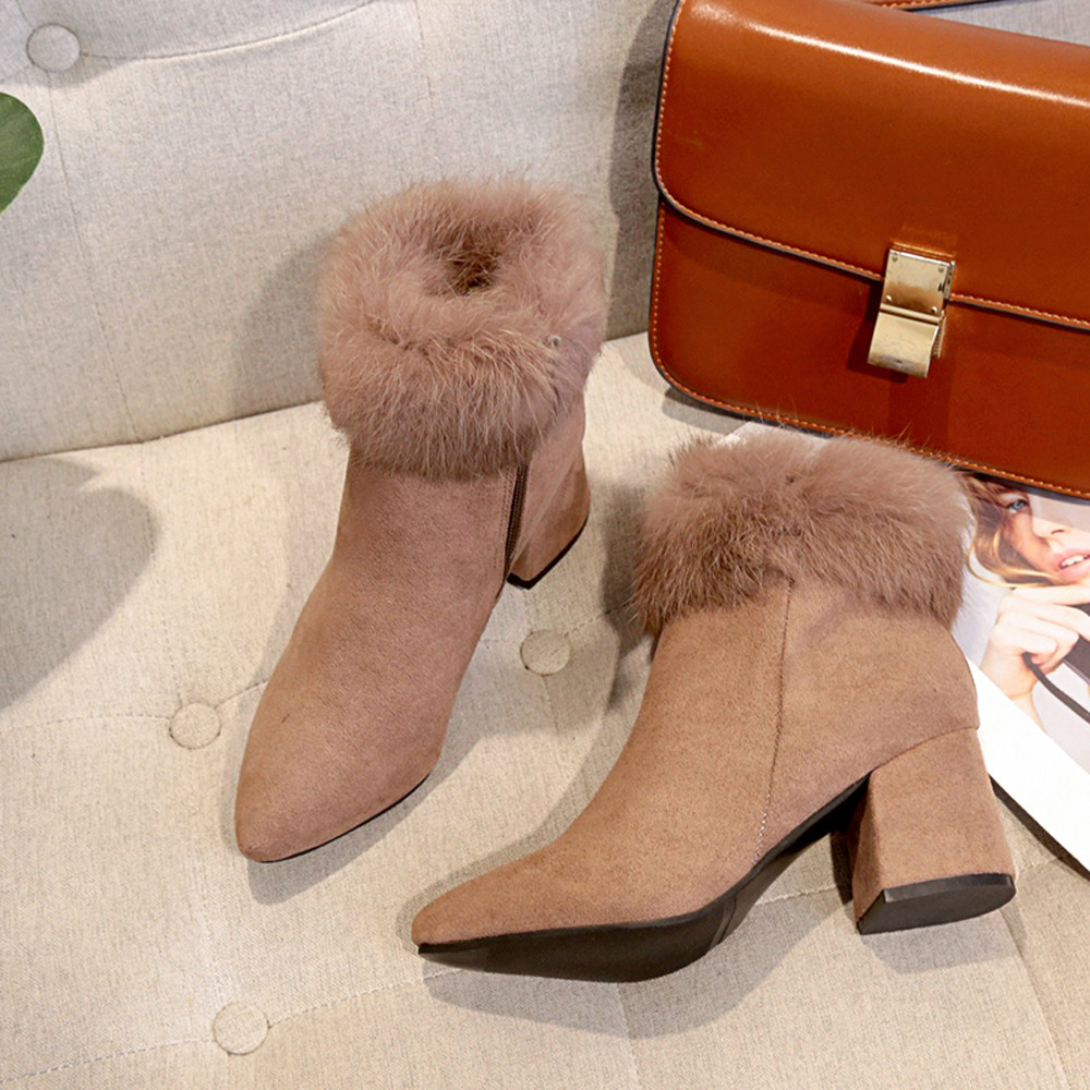 shoes Boots Women Suede Ladies Faux Warm Ankle Slip-On Boots Shoes Middle Heels Martin boots women 2018Nov1 45