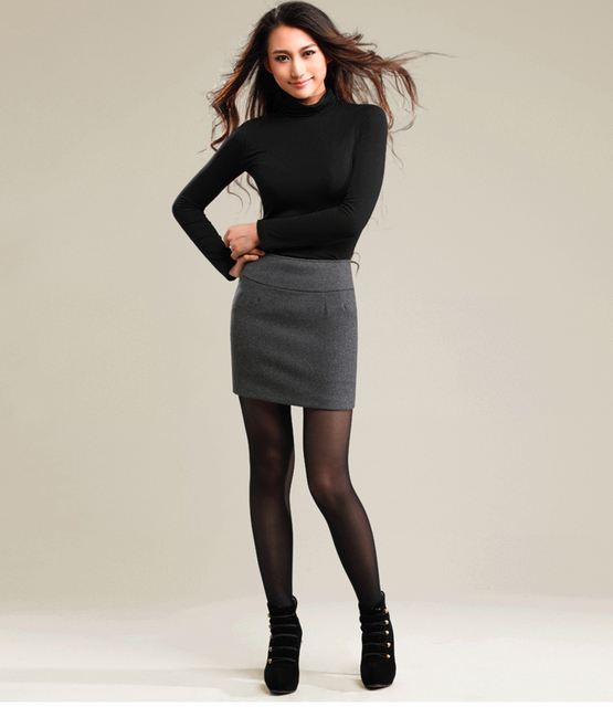 f88a257c0 2015 Winter Women Wool Thick Tight Pencil Skirt Casual Color Fadeless Black/  Dark Grey Package Hip Plus Size S M L XL XXL XXXL