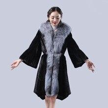 2016 new fur coats,mink coat,genuine fur coat with fox fur collar,mink fur coats natural,