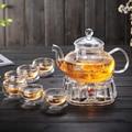 Borosilikat Wärme beständig kungfu glas teekanne tee tassen set kaffee set Glas blühenden tee Teekanne set mit Infuser drop verschiffen-in Teegeschirr-Sets aus Heim und Garten bei