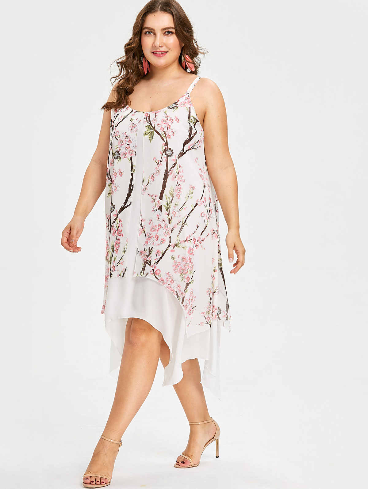 Wisalo плюс размер 5XL Cami платье с цветочным принтом женское летнее Бохо Спагетти ремень без рукавов шифоновое платье до середины икры Vestidos