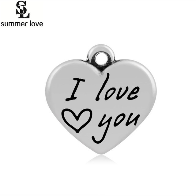 f2b8c930bb785 US $3.03 22% OFF|316L Stainless Steel Love Heart Charm Pendant Word Letter  I Love You Sweet Only You Dangle Charms Fit Friendship Bracelet Making-in  ...