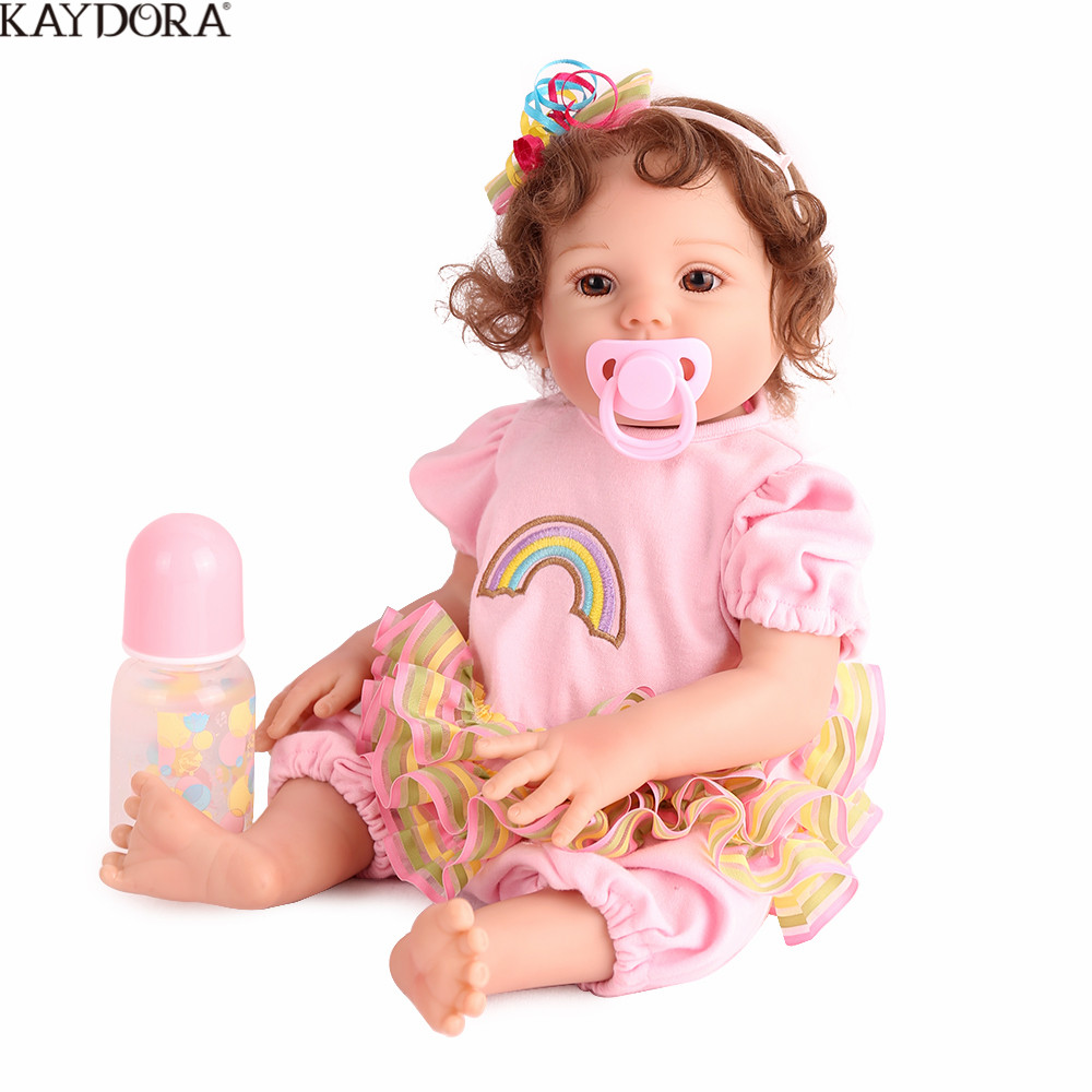 KAYDORA 17inch Full Silicone Reborn Baby Lifelike Girl Doll Bath Toy Cute Bebe Reborn omenina Boneca