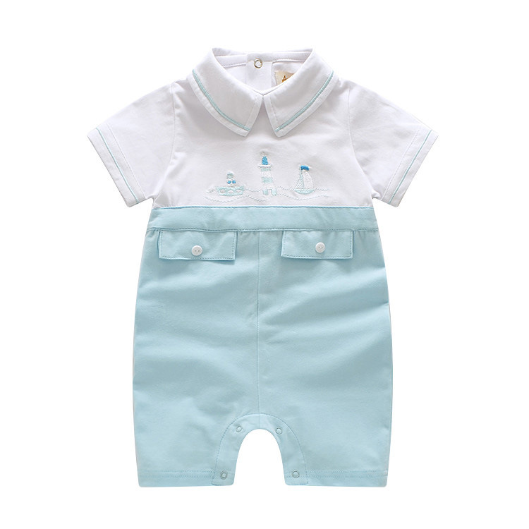 2018 Summer Baby Boy Romper Baby Embroidery Short-sleeve Cotton Romper Navy Costume Newborn One-piece Jumpsuits