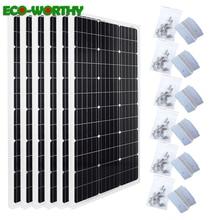 ECOworthy 600W mono Solar system 6pcs 100w 18V monocrystalline solar power panels with 24pcs Z brackets for 12V battery charger
