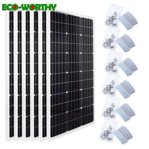 Image 1 - Ecocorthy 600W mono Sistema Solar 6 piezas 100w 18V monocristalina paneles de energía solar con 24 piezas Z soportes para cargador de batería de 12V