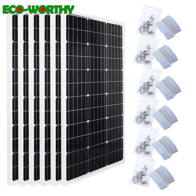 Ecocorthy 600W mono Sistema Solar 6 piezas 100w 18V monocristalina paneles de energía solar con 24 piezas Z soportes para cargador de batería de 12V