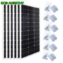 Ecoworthy 600 w 모노 태양계 6pcs 100w 18 v monocrystalline 태양 전원 패널 24pcs z 브래킷 12 v 배터리 충전기