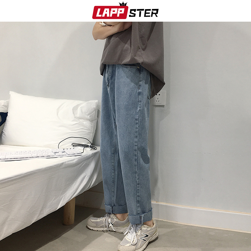 LAPPSTER Men Korean Fashions Jeans Harem Pants 2019 Summer Streetwaer Hip Hop Loose Denim Jeans Mens Straight Blue Trousers 2XL