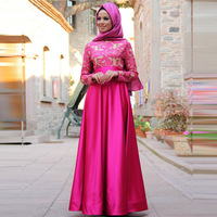 f06b0a28cb554 Charming Rose Red Kaftan Evening Dress With Long Sleeve Elegant Lace  Applique Muslim Evening Party Dress