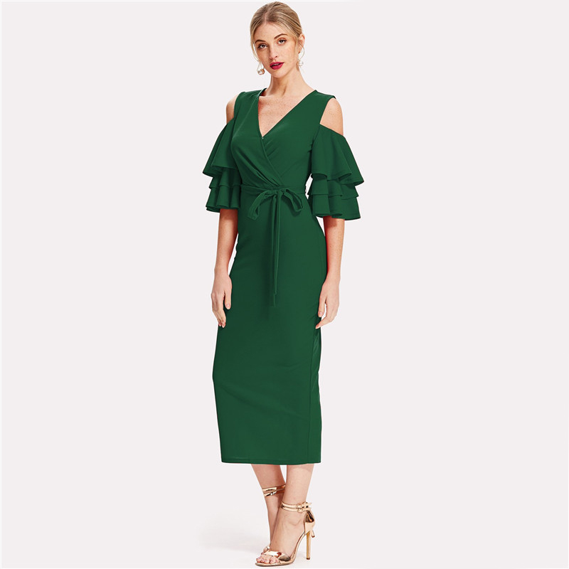 COLROVIE Green Cold Shoulder Ruffle Sleeve Belted V Neck Split Party Dress Women 2018 Autumn Solid Sexy Midi Bodycon Dresses 9