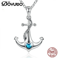 DOYUBO Elegant Sterling Silver Anchor Pendant Necklace For Women Blue Enamel Heart Shape Charms Chains Lady Fine Jewelry AKK001
