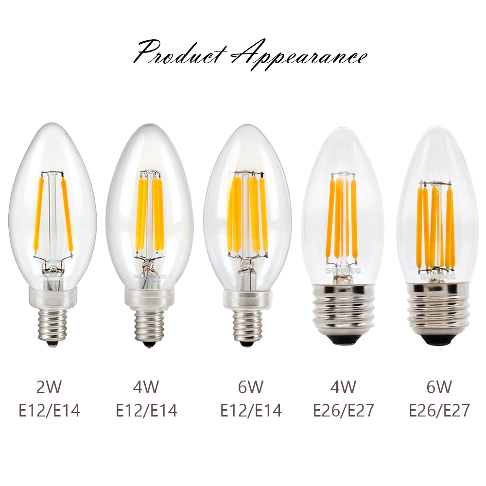 SUNMEG 3Pcs B11 Chandelier Filament LED Bulbs E26 E12 110V 2W/4W ...