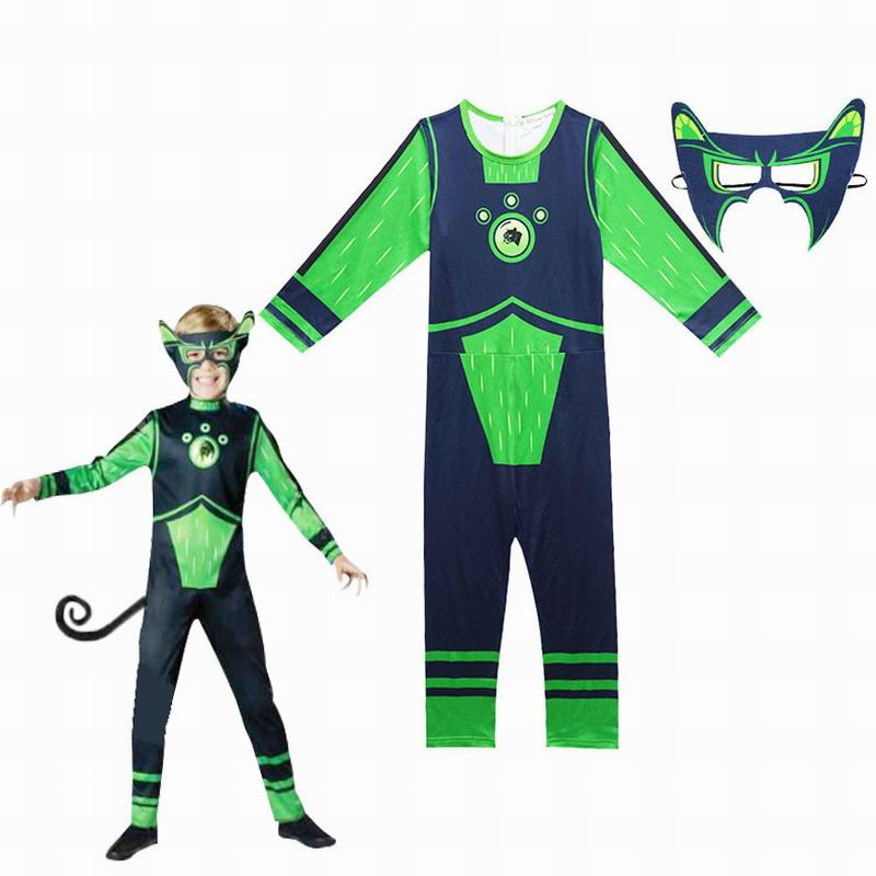 Wild Kratts Costume Boy Jumpsuits&Mask 2PCS/Set Kids Halloween Fancy Dress Wild Kratts Cosplay Costumes Streetwear