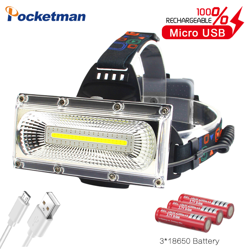 Most Powerful COB LED Headlight USB Rechargeable Head Lamp White&red&blue Light 3-Mode Headlamp Waterproof Hunting Lighting