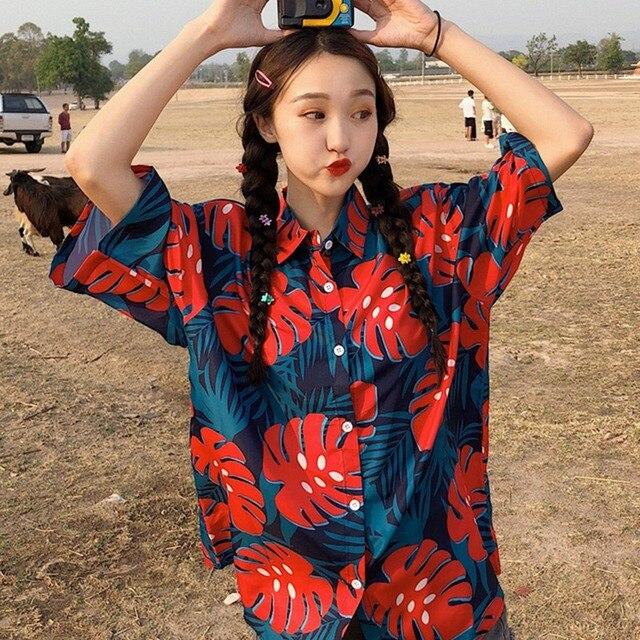 Mujeres botón flojo blusas de moda de impresión de dibujos animados camisetas Tops Collar blusas