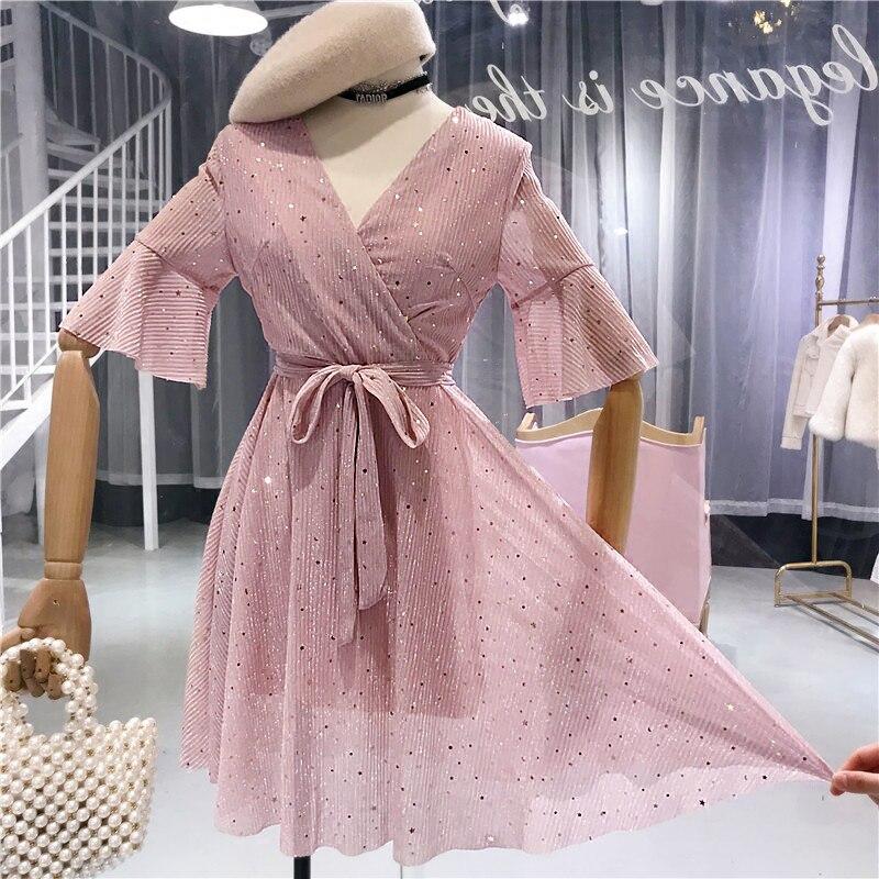 ALPHALMODA V-collar Flare-sleeved High Waist Sparkling Women Summer Dress Slim Fit Sashes Female Graceful A-line Vestidos