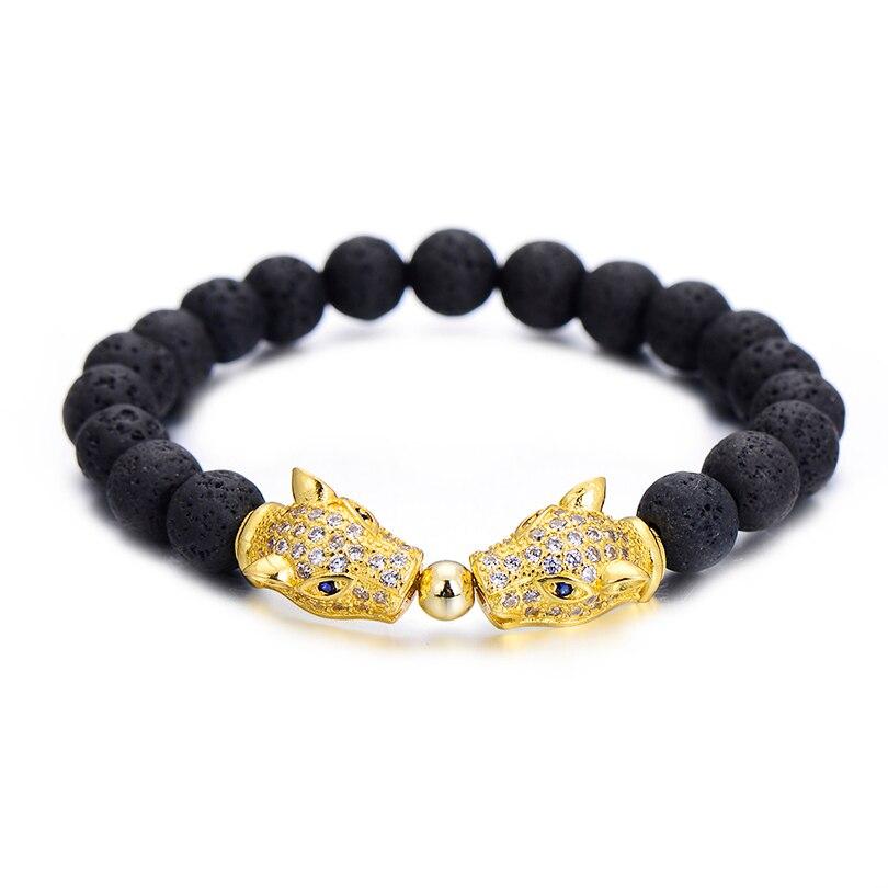 Fashion Brand Crystal Gold Color Double Lion Head Charm Bracelets Men Jewelry Black Lava Stone Macrame Strand Beads Bracelet Hot