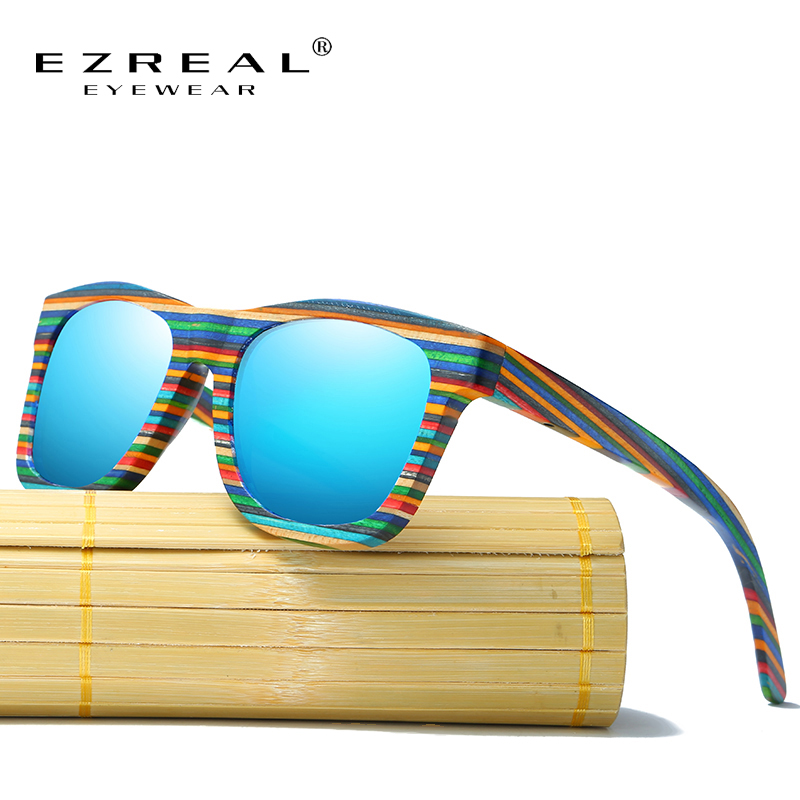 EZREAL Polarized Wooden Sunglasses Lelaki Bamboo Sun Glasses Women Brand Designer Original Wood Glasses Oculos de sol masculino