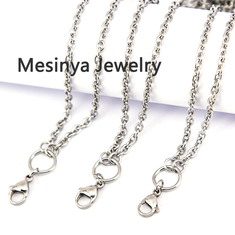 10pcs 24\'\' 3mm flat cable O jumpring 316L stainless steel lanyard ...