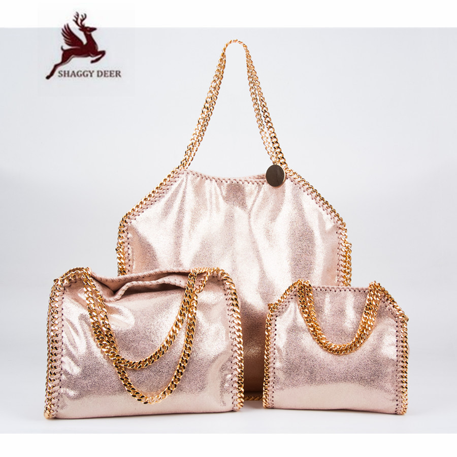 2018 New Shaggy Deer Brand Luxury Shiny Golden Quality Falabellas 3 Chain  Fold-Over Classical PVC Handbag mini gray shaggy deer pvc quilted chain bag with cover real picture
