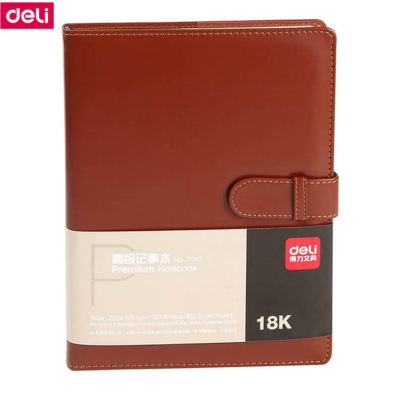 Deli 7945/7946 Note book PU cover 18k(260x183mm) 25k(217x152mm) 120 sheets note book black brown color random delivery deli гастроном 3179 brown jazz series классический ретро кожа блокнот 25k 130 ye случайных цветов