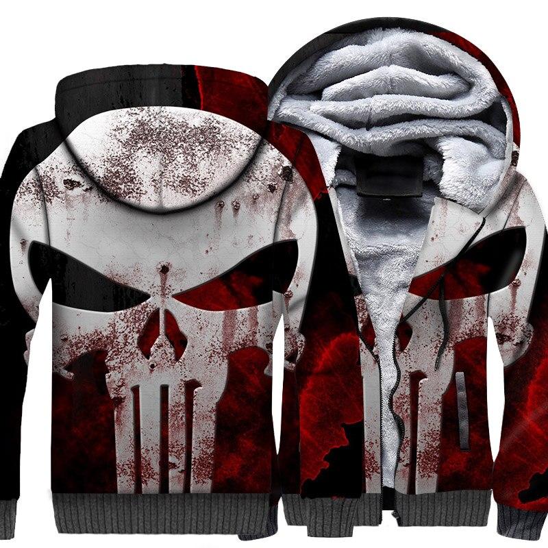 Skull Print Swag 3D Hoodies Men 2019 Winter Warm Jacket Punk Style Hooded Thick Men's Sweatshirt Hip Hop Streetwear