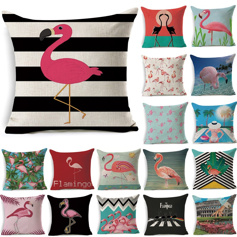 1Pcs Flamingo Pattern Cotton Linen Throw Pillow Cushion Cover Seat Car Home Decoration Sofa Decor Decorative Pillowcase 40249
