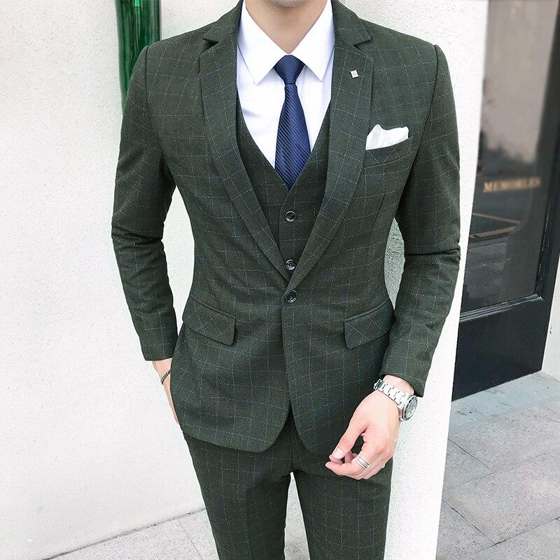 Style britannique hommes costume (veste + gilet + pantalon) robe à carreaux Slim Fit costume ensemble vert luxe bal smoking mariage costumes pour hommes 5XL