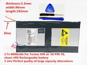 Image 2 - 3.7v 8000mAh 3296192 For Teclast X98 air 3G P98 3G Tablet PC Battery 3 wire X98 X98 AIR p98 X98 P98HD P98