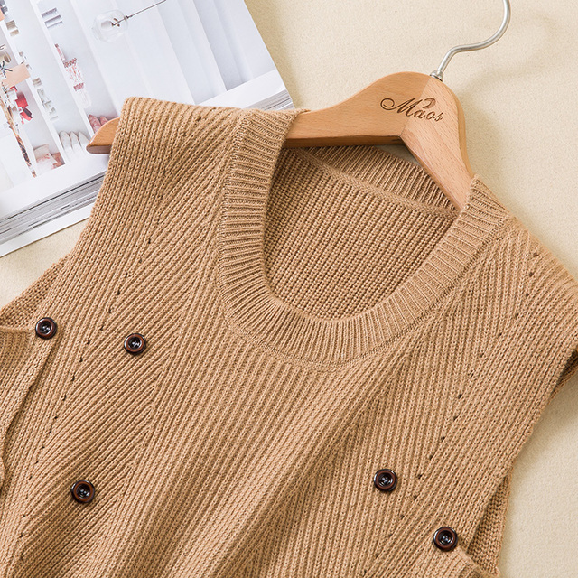 2019 new autumn and winter knitting vest female cashmere vest Korean short paragraph Slim sleeveless waist sweater round neck co