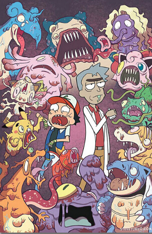 Pokemon Xy Rick And Morty Art Silk Fabric Poster 36 X 24 In