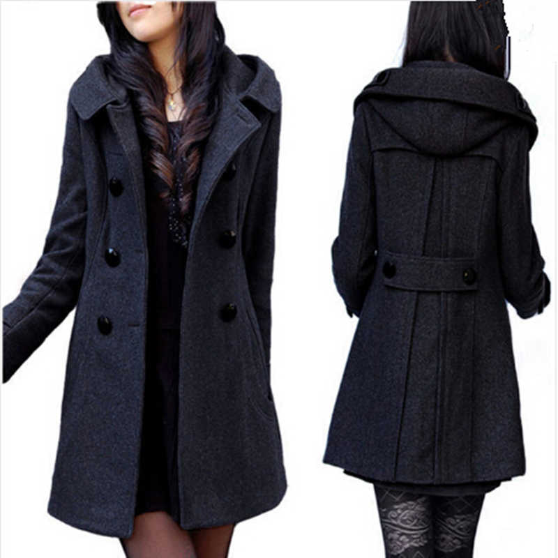 Hot Sales Brand Double Breasted Warm Wool Coat With Hood,Long Winter Jacket Black / Grey/ Extra Large Women Overwear Z109