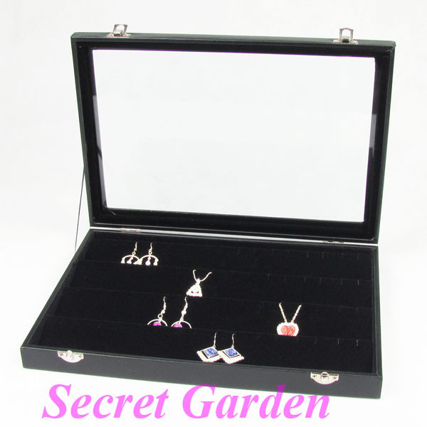 Wholesale High Quality Black Leatherette Earring Pendant Necklace Display Tray Jewelry Box