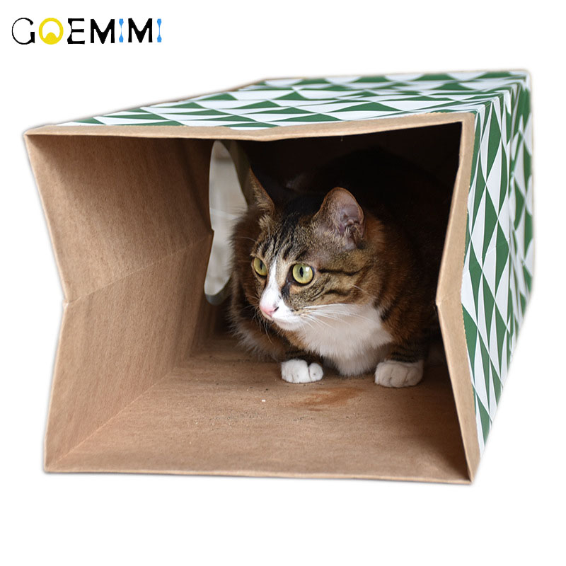 2019 Paper Cat Tunnel Creative Interactive Kraft House Pet Toy Foldable Supplies