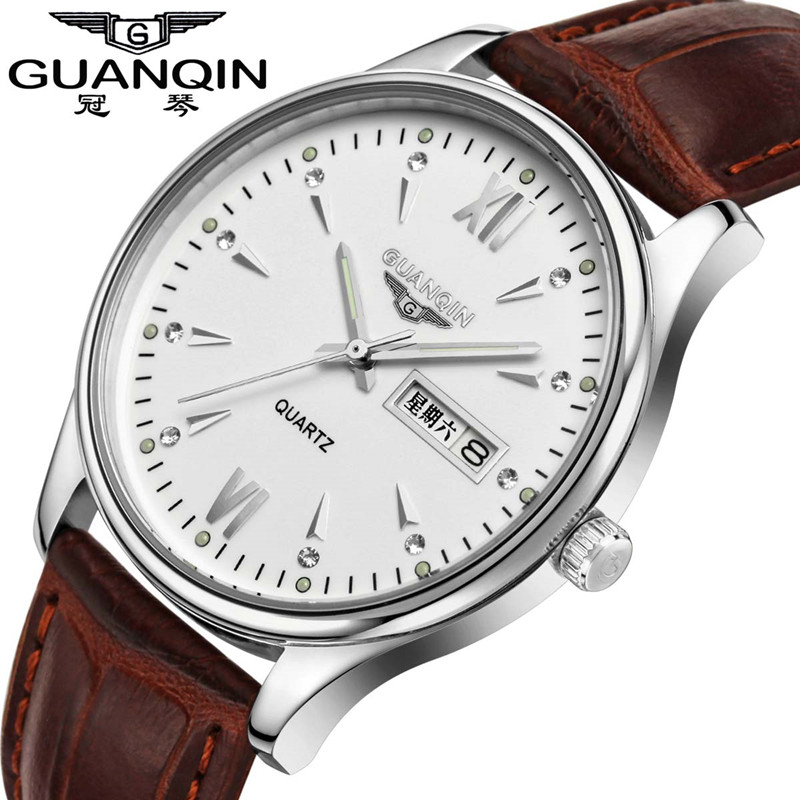 ФОТО GUANQIN 30m Waterproof Quartz Watch Men Watches Brand Sapphire Luminous Leather Watch Fashion Luxury Analog Wristwatch